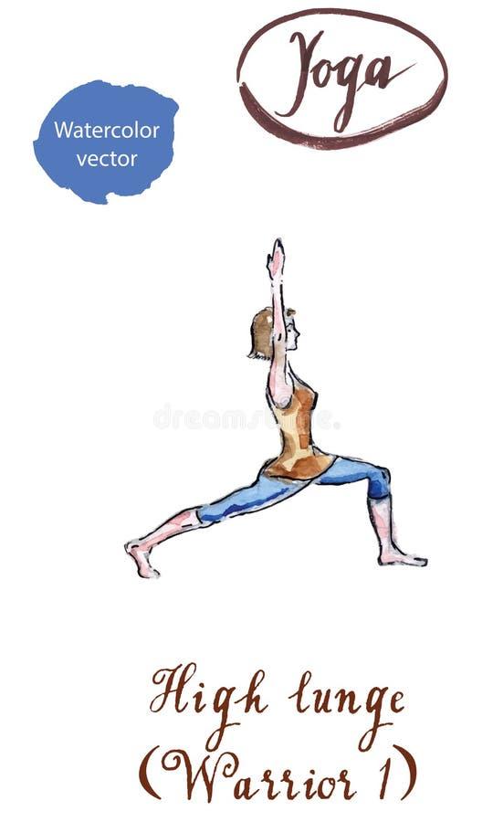 Mujer joven que hace el alto ejercicio de la estocada, postura del guerrero I, ilustración del vector
