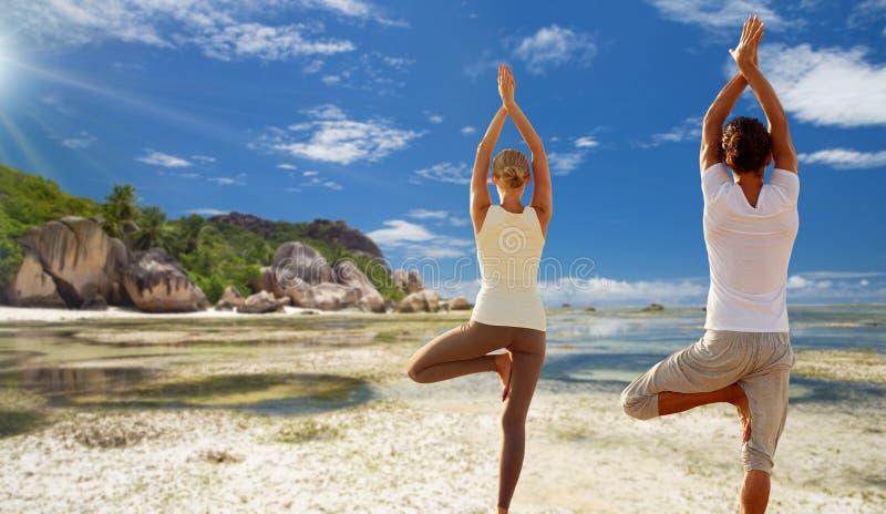 Mujer joven que hace que yoga el árbol presenta al aire libre fotos de archivo
