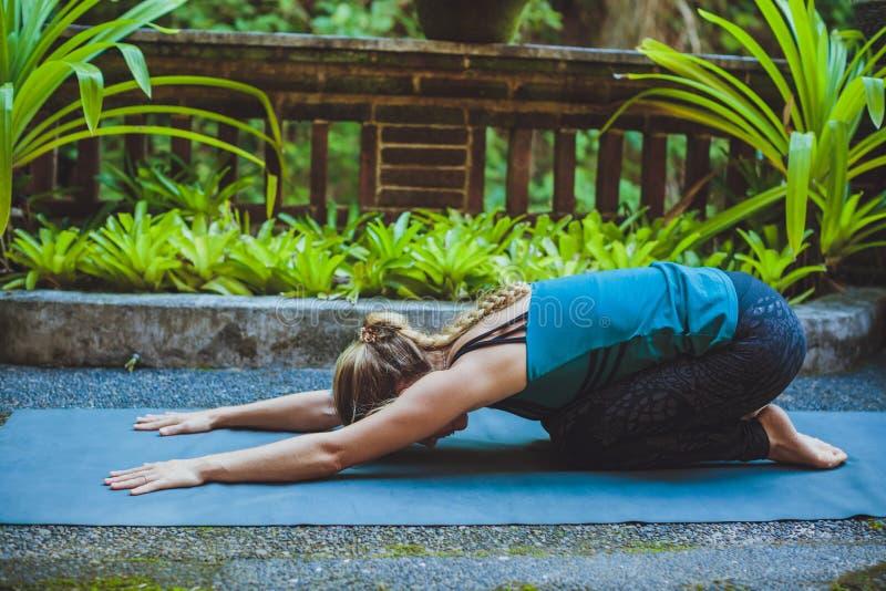 Mujer joven que hace yoga afuera en el ambiente natural imágenes de archivo libres de regalías