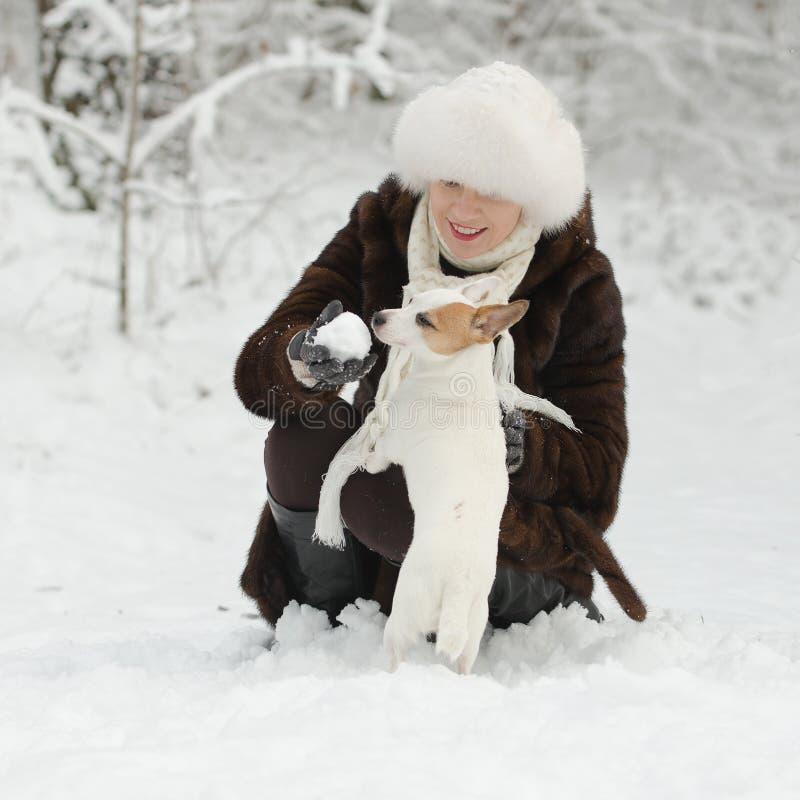 Mujer joven que juega con el terrier de Jack Russell fotografía de archivo