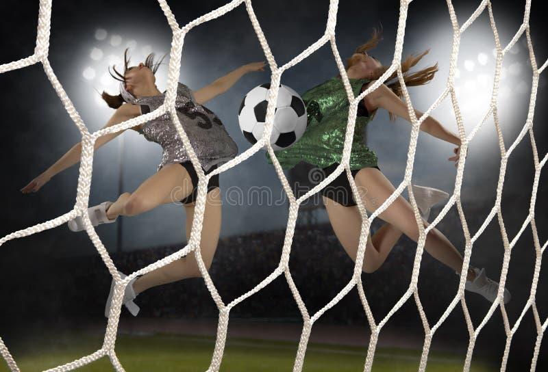 Mujer joven que juega a fútbol foto de archivo