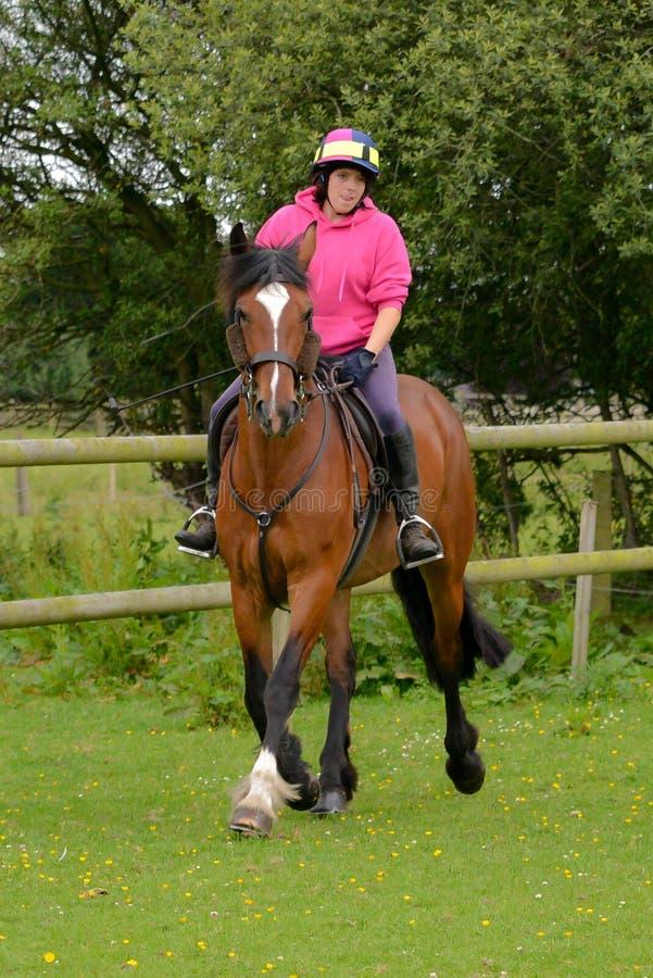 Mujer joven que monta su caballo en un campo foto de archivo