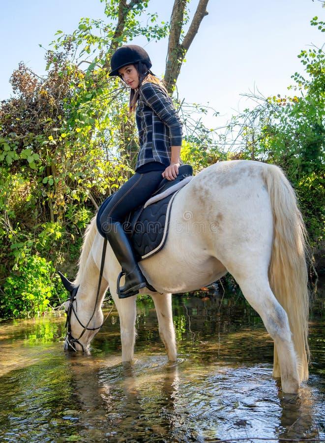 Mujer joven que monta un caballo en el jinete hermoso del río A y ho fotografía de archivo libre de regalías