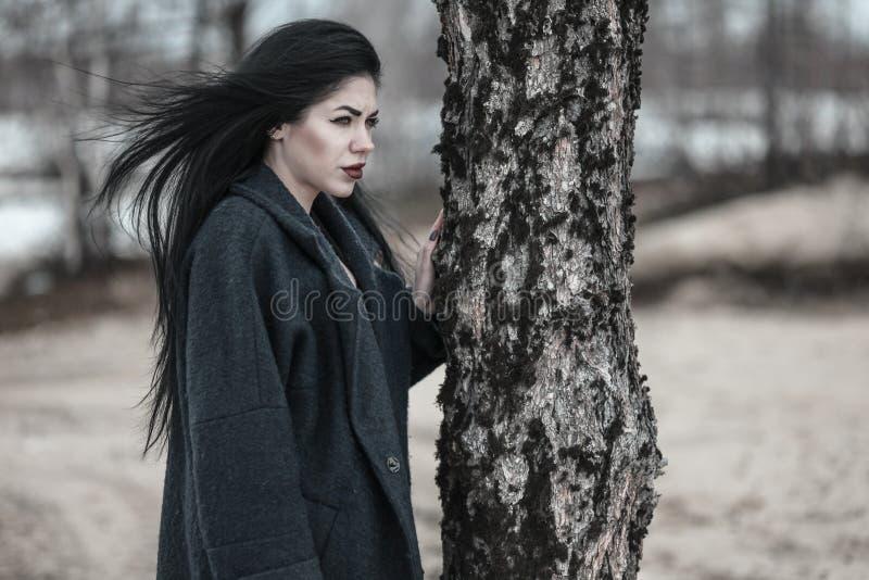 Mujer joven que permanece cerca del ?rbol de pino foto de archivo libre de regalías
