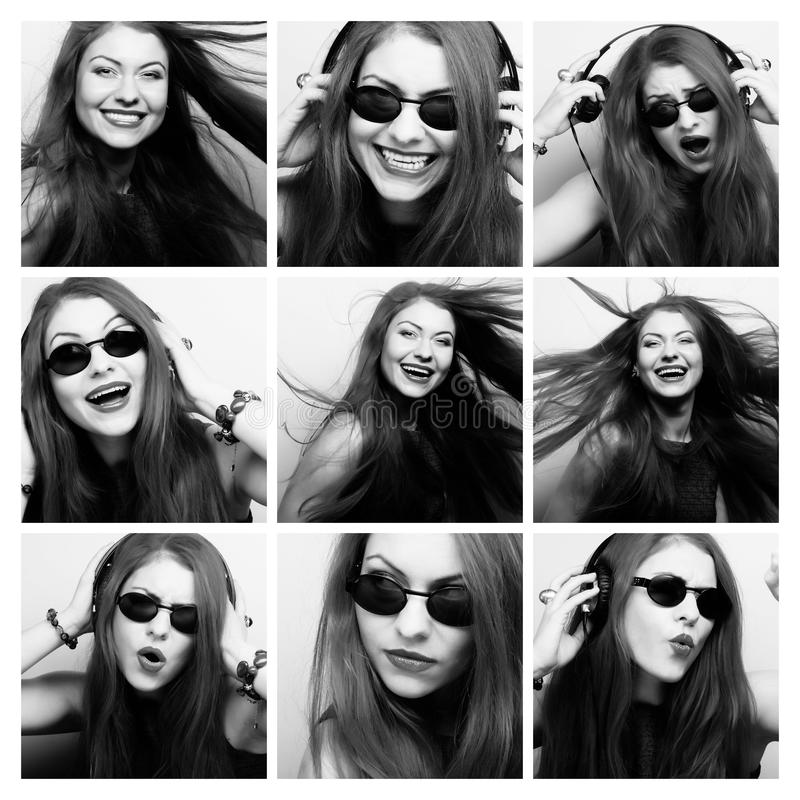 Mujer joven que realiza diversas expresiones con su cara foto de archivo