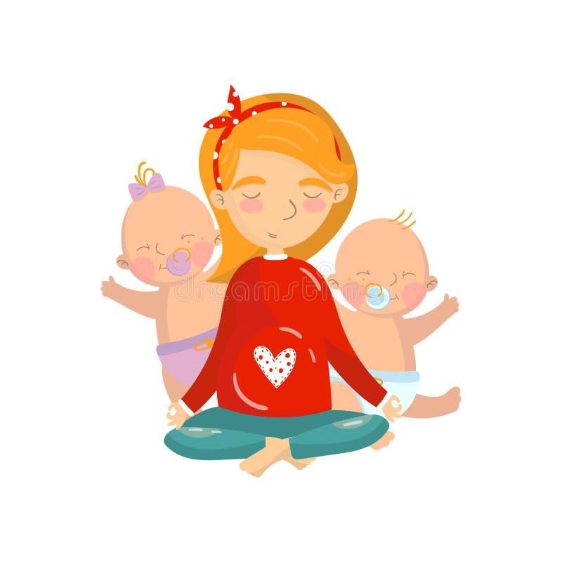 Mujer joven que se relaja en la posición de loto de la yoga con sus niños, ejemplo practicante del vector de la historieta de la  ilustración del vector