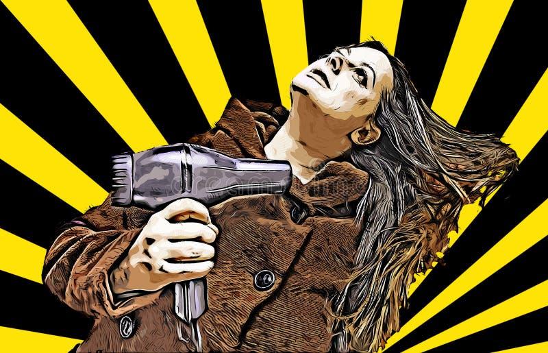 Mujer joven que se seca el pelo con un secador foto de archivo
