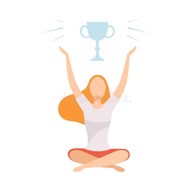 Mujer joven que se sienta con las piernas cruzadas y que sueña con la victoria, muchacha con la taza de oro del ganador sobre su  libre illustration