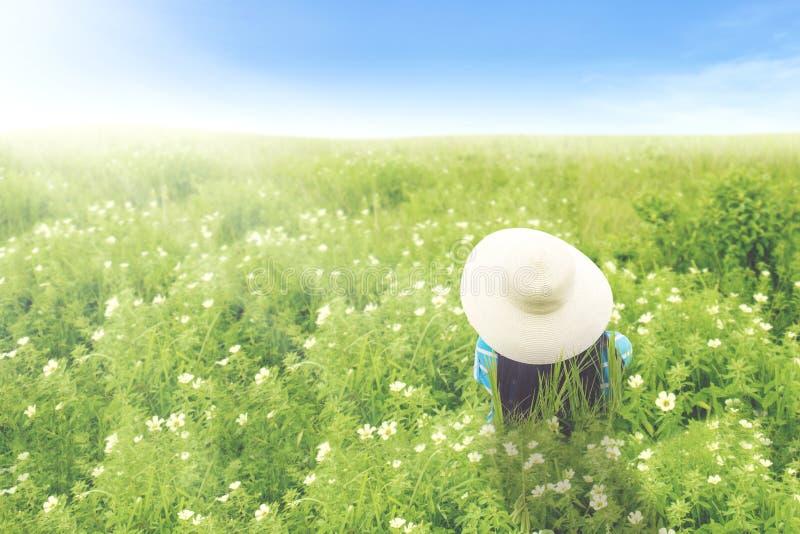 Mujer joven que se sienta en el prado del flor imágenes de archivo libres de regalías
