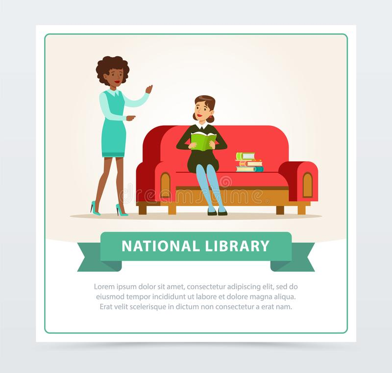 Mujer joven que se sienta en el sofá y el libro de lectura en biblioteca, bibliotecario de sexo femenino que ayuda al lector, edu ilustración del vector