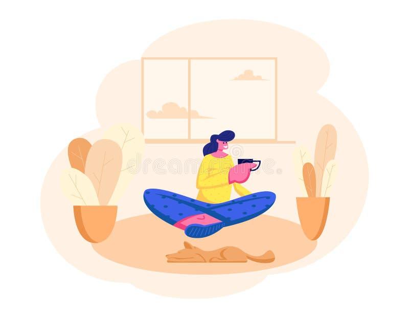 Mujer joven que se sienta en piso con la taza de té o de café a disposición en casa Amigo que visita del carácter femenino, relaj ilustración del vector