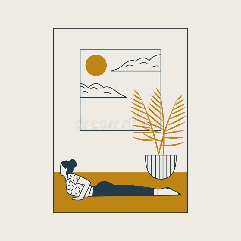 Mujer joven que se sienta en postura y meditar de la yoga Muchacha que hace ejercicio y la meditación de los aeróbicos en casa ilustración del vector