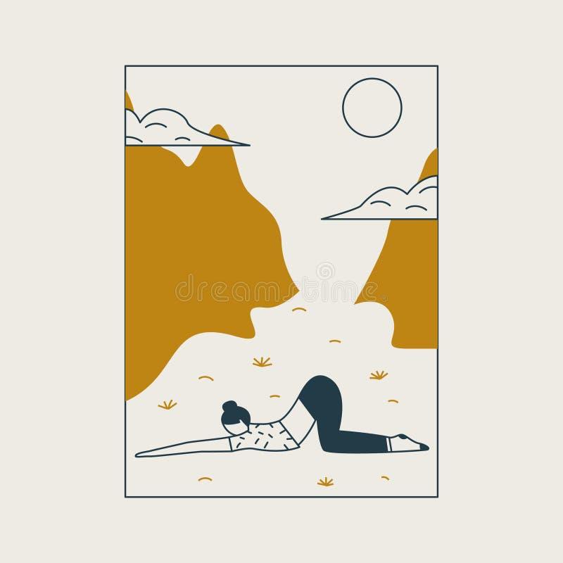 Mujer joven que se sienta en postura y meditar de la yoga Muchacha que hace ejercicio y la meditación de los aeróbicos en montaña stock de ilustración