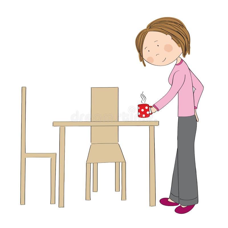 Mujer joven que sostiene la taza de café o de té libre illustration