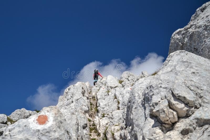 Mujer joven que sube para arriba las montañas de Piatra Craiului fotos de archivo