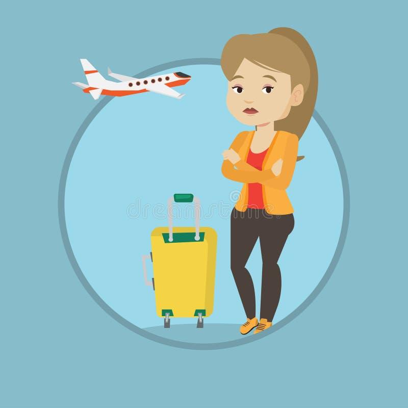 Mujer joven que sufre del miedo del vuelo libre illustration