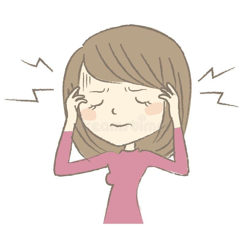 Mujer joven que tiene dolor de cabeza ilustración del vector