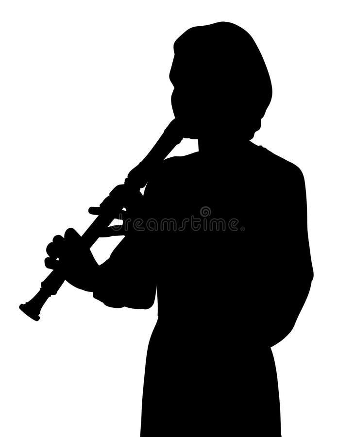 Mujer joven que toca la flauta del registrador ilustración del vector