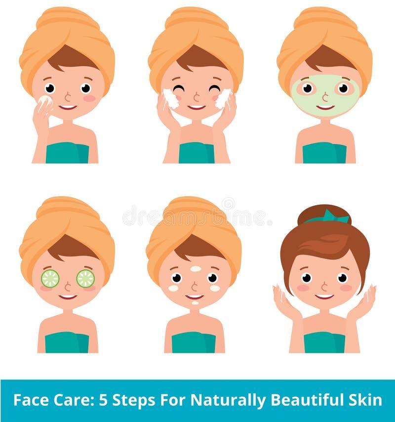 Mujer joven que toma cuidado de su piel de la cara en 5 pasos de la belleza stock de ilustración