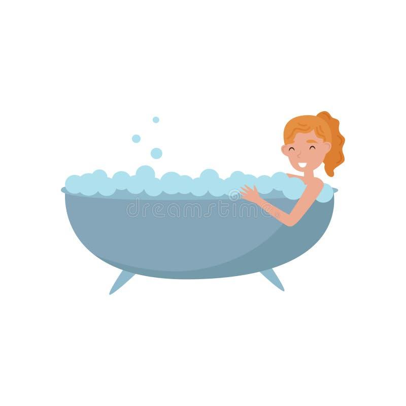 Mujer joven que toma el baño en bañera de la burbuja, tratamiento de la belleza, mujer joven que toma a cuidado de sí misma el ej ilustración del vector