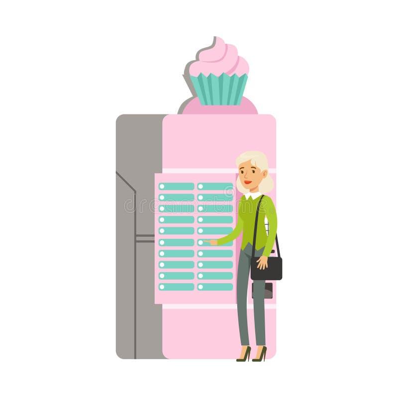 Mujer joven que usa el ejemplo automático del vector de la máquina expendedora del helado ilustración del vector