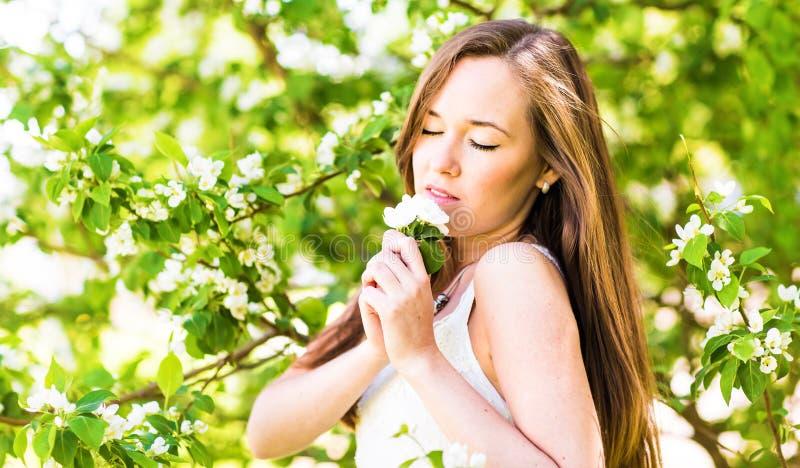 Mujer joven romántica con los ojos cerrados en el jardín de la primavera entre el flor de la manzana, foco suave imágenes de archivo libres de regalías