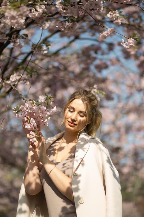 Mujer joven rubia hermosa en el parque de Sakura Cherry Blossom en primavera que disfruta de la naturaleza y del tiempo libre dur foto de archivo