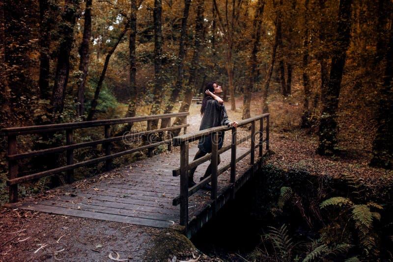 Mujer joven seria que mira el cielo en un puente en el medio del bosque en otoño imagenes de archivo