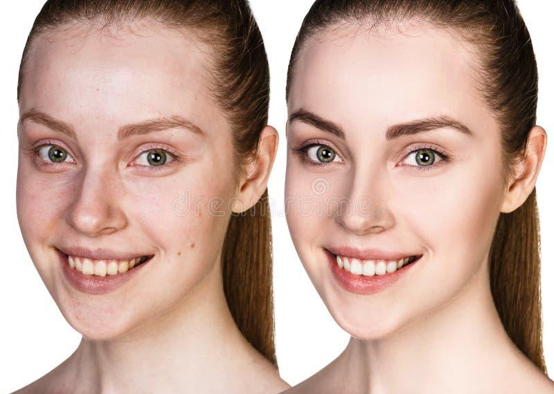 Mujer joven sin y con maquillaje foto de archivo