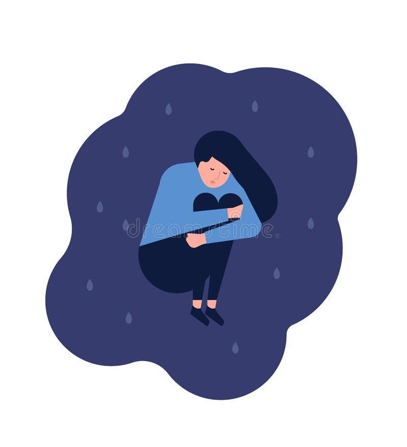 Mujer joven sola desgraciada que se sienta en piso Muchacha deprimida, infeliz o del trastorno Carácter femenino en problemas, de ilustración del vector