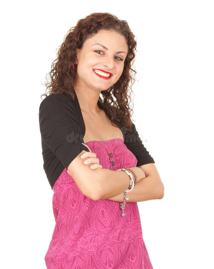 Mujer joven sonriente ocasional imagen de archivo libre de regalías