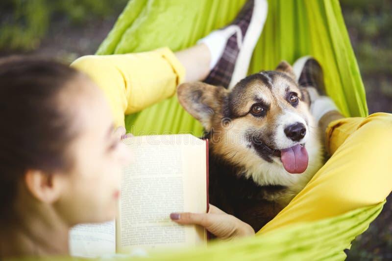 Mujer joven sonriente que lee un libro y que miente en hamaca verde con el Corgi divertido Galés del perro en un parque al aire l imágenes de archivo libres de regalías
