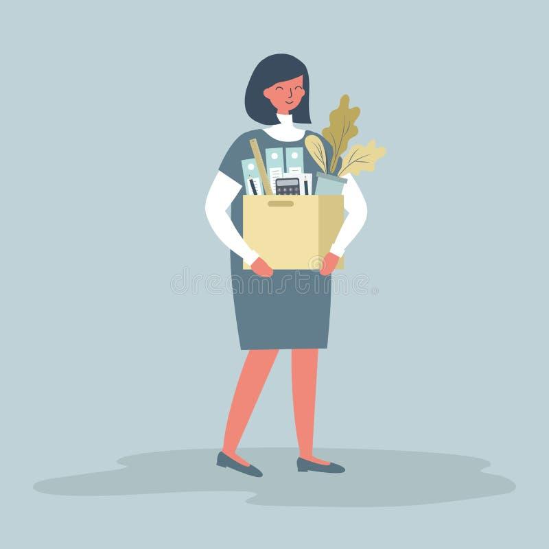 Mujer joven sonriente que lleva a cabo materiales de oficina Concepto: el empleado recibi? un nuevo trabajo ilustración del vector