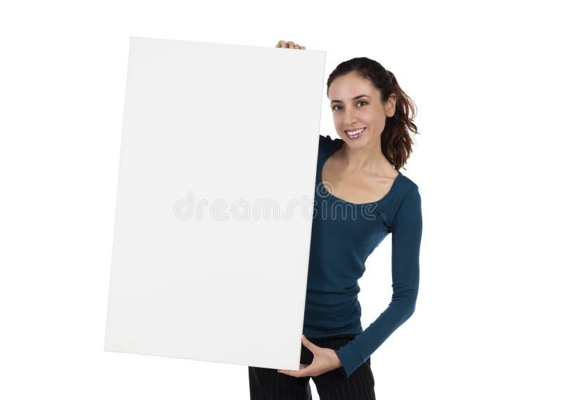 Download Mujer Joven Sonriente Que Sostiene Un Cartel Blanco Foto de archivo - Imagen de anuncio, muchacha: 44852956