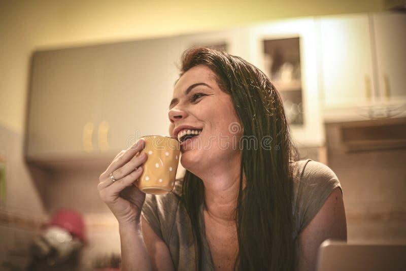 Mujer joven sonriente que trabaja en el ordenador portátil en casa fotografía de archivo libre de regalías