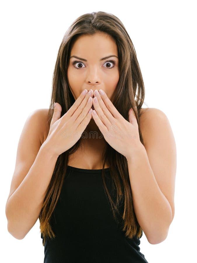 Mujer joven sorprendida foto de archivo