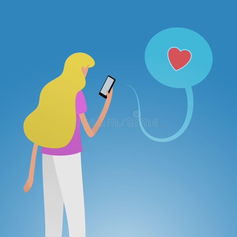 Mujer joven usando el smartphone que consigue como con icono del corazón en medios sociales stock de ilustración