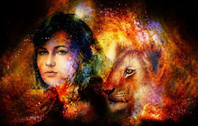 Mujer joven y cachorro de león en espacio cósmico Efecto del crujido stock de ilustración
