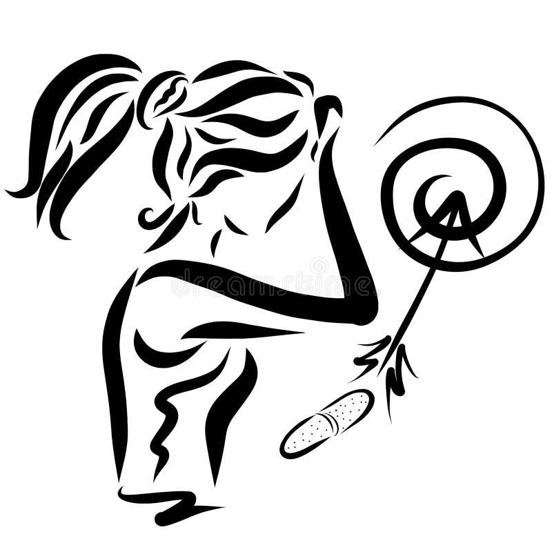 Mujer joven y tableta o vitamina dolorida, tiro en la blanco stock de ilustración