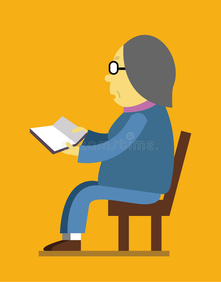 Mujer jubilada que lee un libro ilustración del vector