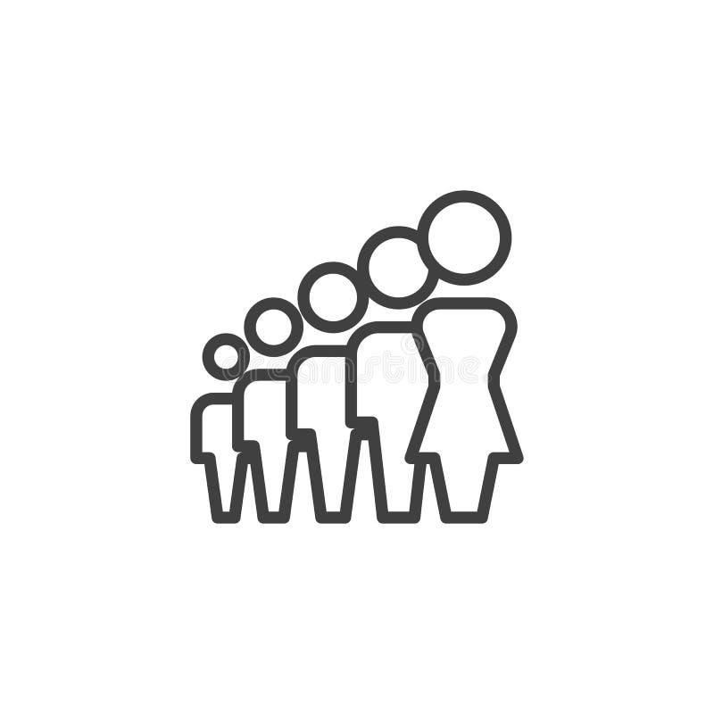 Mujer, línea de líder del grupo icono libre illustration