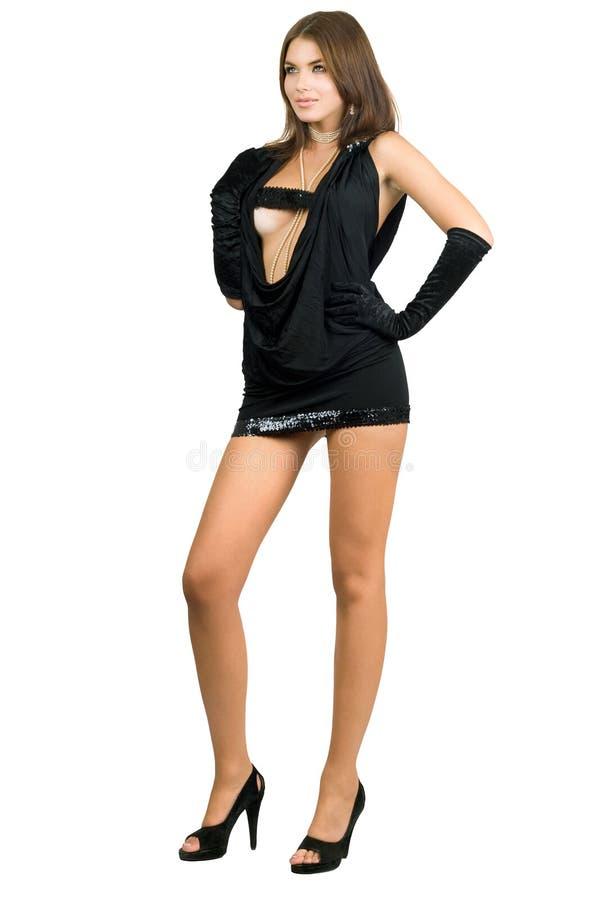 Mujer leggy atractiva en alineada negra fotos de archivo