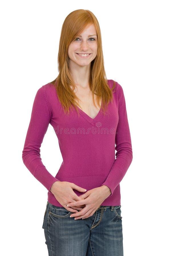 Mujer linda con el pelo rojo foto de archivo libre de regalías