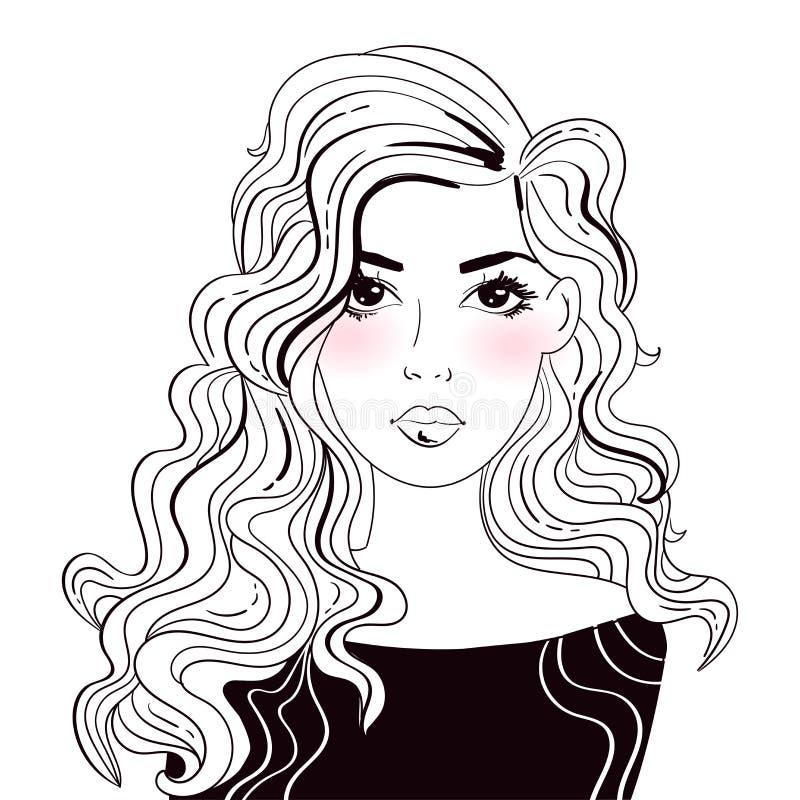 Mujer linda con vector largo del pelo historieta Arte aislado en blanco libre illustration