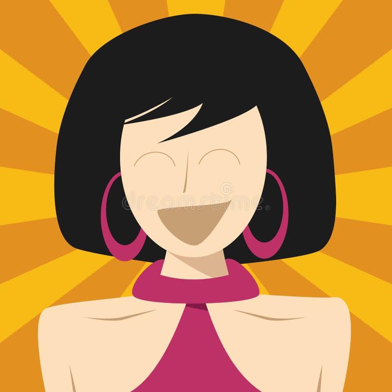 Mujer linda en estilo retro plano de la historieta con el fondo cómico colorido del estilo ilustración del vector