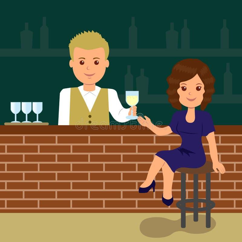 Mujer linda que se sienta en la barra stock de ilustración