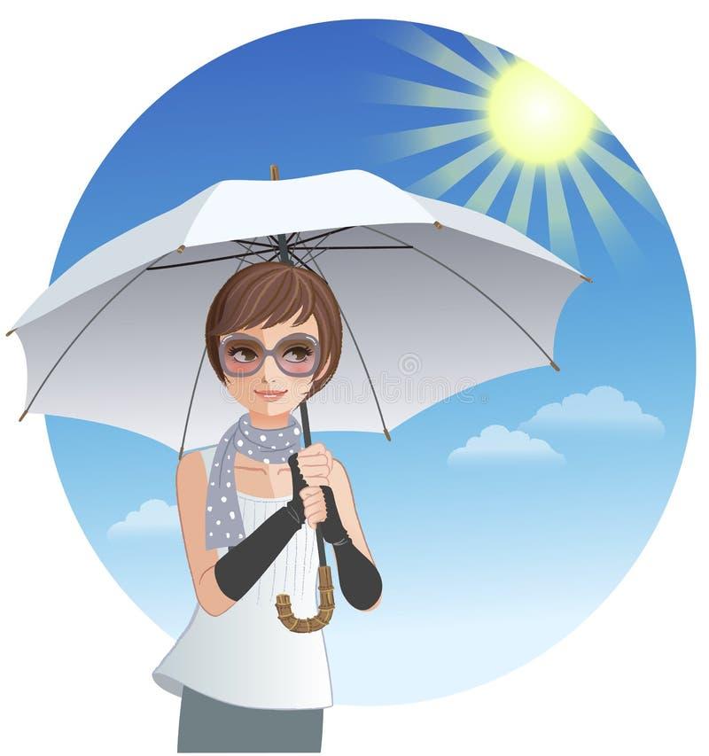 Mujer linda que sostiene el paraguas de la sombrilla bajo luz del sol fuerte stock de ilustración