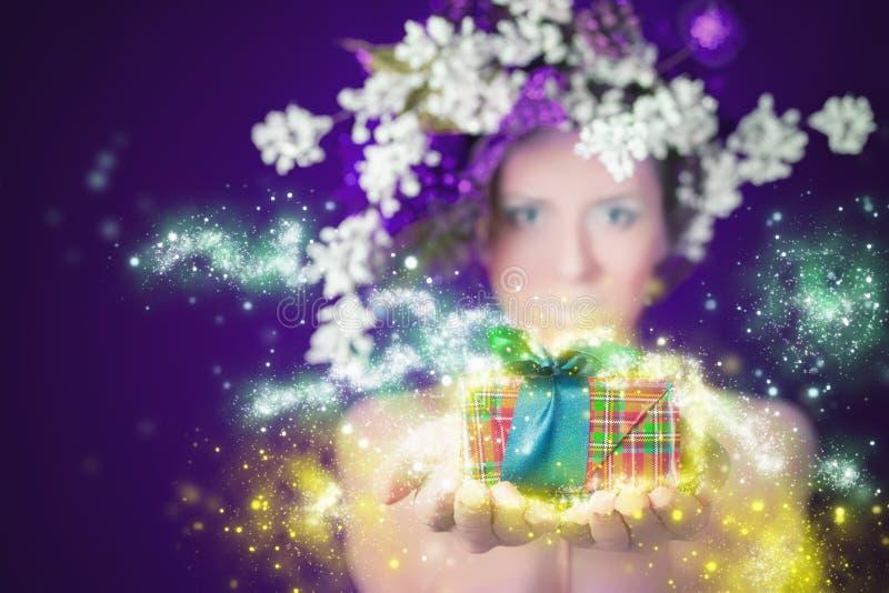 Mujer mágica del invierno de las compras de la Navidad que lleva a cabo el regalo, el peinado y el maquillaje fotografía de archivo