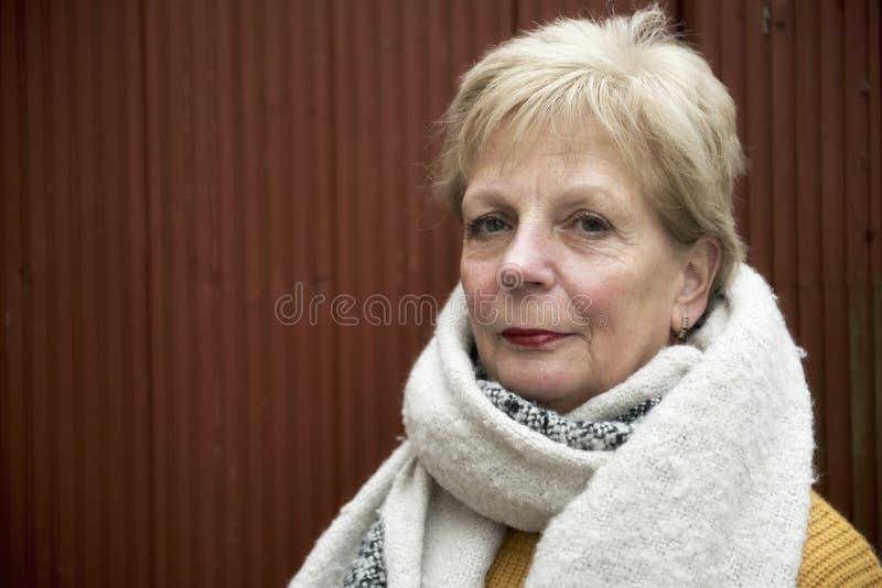 Mujer madura feliz que lleva una bufanda grande en invierno foto de archivo libre de regalías