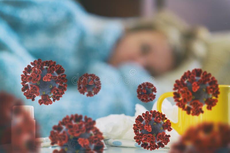 Mujer madura que padece enfermedad viral imagen de archivo